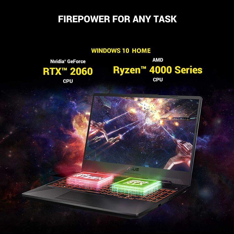 Asus TUF Gaming A15 FA506IV-AL031T TUF Gaming Laptop(Grey Metal) - AMD R7-4800H 2.9 GHz, 16GB RAM, 1024GB SSD, Nvidia GeForce RTX 2060, 15.6 inches, 144Hz Refresh Rate, Windows 10, Eng-Arb-KB