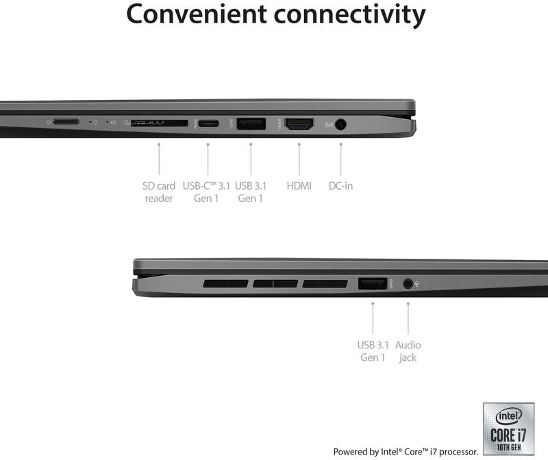 Asus ZenBook Flip UX463FL-AI025T Convertible Ultrabook (Gun Grey) - Intel i7-10510U 1.8 GHz, 16 GB RAM, 1000 GB SSD, Nvidia GeForce MX250, 14 inches, Windows 10 Home, Eng-Arb-KB